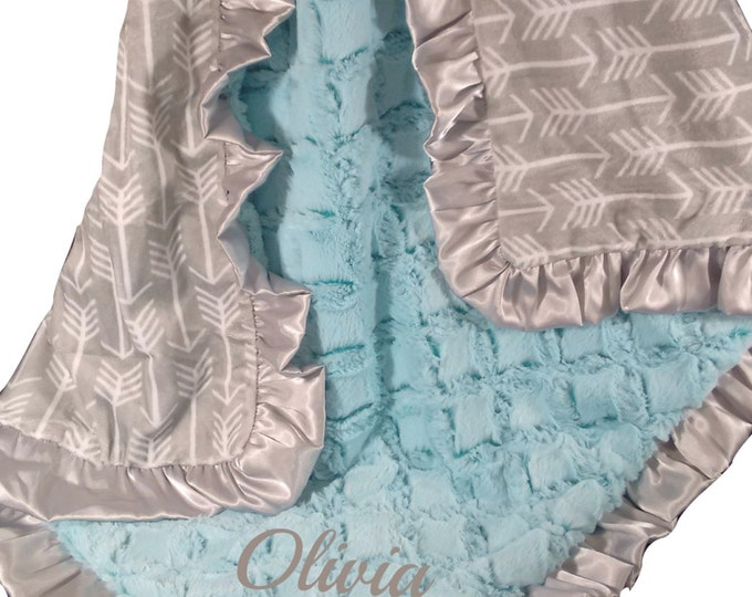 Saltwater Pool Green and Silver Gray Arrow Minky Baby Blanket, three sizes