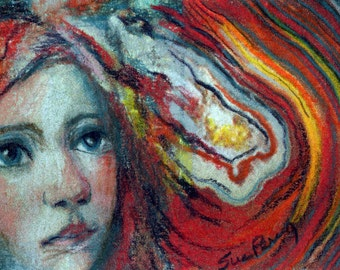 original art color  pencil drawing ACEO colorful agate rock layers red head girl