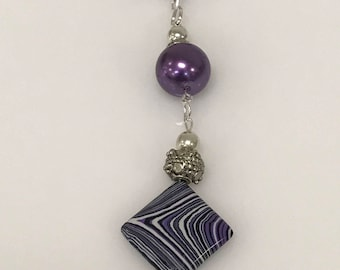 Purple, Black, White Striped Jasper Stone Pendant With Purple Pearl