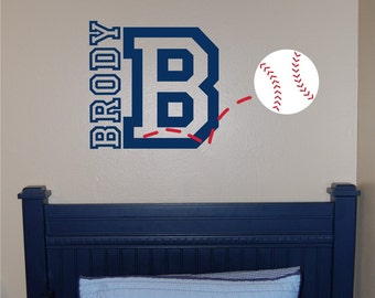 Baseball Name & Initial Wall Decal - Baseball Wall Decal - Sports Wall Decal - Personalized Baseball Wall Decal - Boy Wall Decal - Baseball