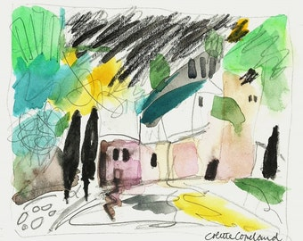 Original watercolor and graphite sketch on paper, landscape, South of France