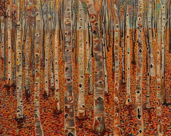 Fall Leaves Birch Forest