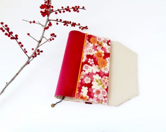 Protects-pocketbook adjustable fabric with bookmark (Japanese cherry/rouge_beige patterned fabric)