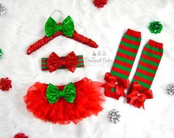 Christmas Baby Bloomer Set- Christmas headband-Baby Leg Warmers-Stripe Leg Warmers- Leg Warmer Set