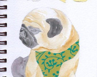 "Pug Print - Sketchbook Series - Watercolor & Collage - ""Squeezebox"""