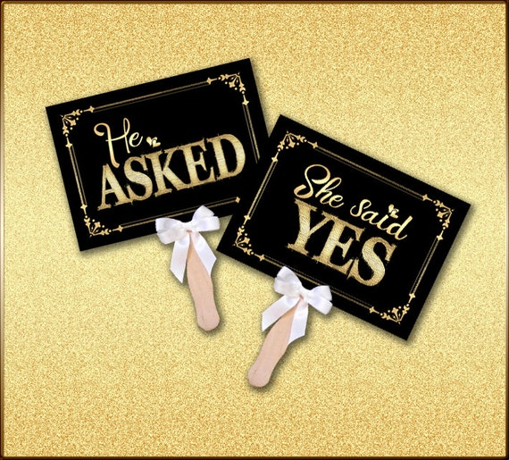 Engagement Photo Prop He Asked She Said Signs in Classic Black & Gold, Printed Engagement Signs, Save the Date photo props, black gold signs