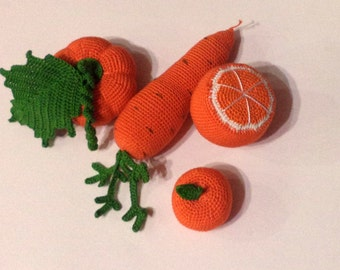 crochet food . Knitted vegetables and fruit, birthday, eco-friendly toys.Crochet Play Food/doll food