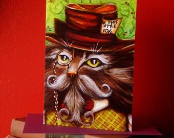 Mad Hatter Cat Card, Alice in Wonderland Fantasy Cat Greeting Card
