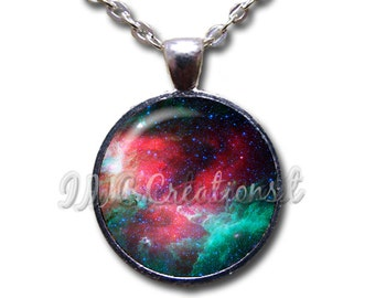 Nebula Universe Space Glass Dome Pendant or with Chain Link Necklace PT134