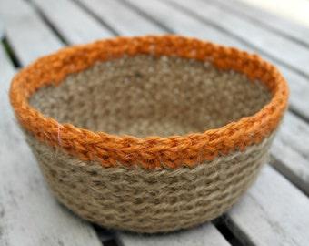SALE Crocheted Jute Bowl, Plant Pot Holder, Hostess Gift, Crochet Storage Basket, Natural Jute Basket, Jute Twine Bowl -  Orange Rim