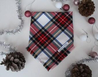FOREST MOUNTAINS, Dog bandana, flannel dog bandana, puppy bandana, frayed dog bandana, plaid dog bandana, grey dog bandana, pet bandana
