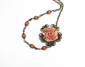 Vintage Style Peach Rose Asymmetrical Beaded Necklace - Antiqued Brass Filigree -Peach Czech Glass - Romantic