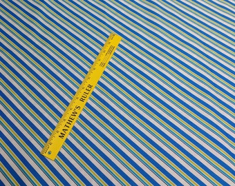 Blue and Green Striped Cotton Fabric