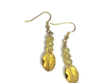 Yellow Earrings Yellow Glass Earrings Yellow Crystal Dangle Earrings