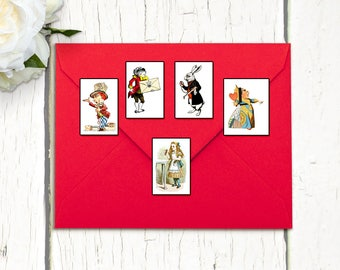 Alice in Wonderland Stickers Planners Project Life Diary Junk Journals Scrapbooks Envelopes Seals Whimsical Fairytale