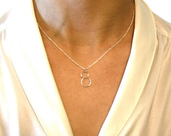 """Delicate Double Circle Necklace Sterling Silver Simple Round two Hoops Thin 16"""" or 18"""" thin 1mm Chain Tiny Halo Children Charms Gift for Her"""