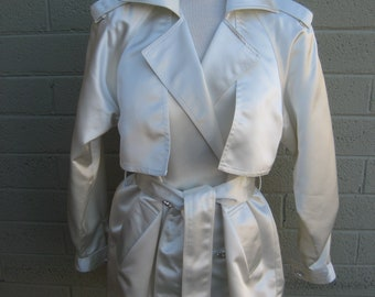 Cool vintage Lillie Rubin satin trench coat bling buttons