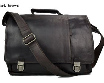 Notebook bag  italian leather shoulder messenger bag ipad laptop dark brown notebook leatherbag satchel crossbody business executive