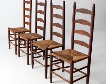 Antique Ladder Back Chairs With Rush Seat, Set Of 4 Dining Chairs
