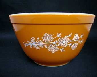 Butterfly Gold Pyrex Small Gold Mixing Bowl with White Flowers Corning NY Retro Kitchen