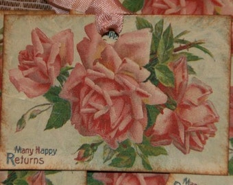 Pink Roses Many Happy Returns Gift Hang Tags