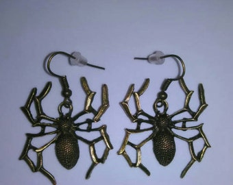 Bronze Spider Earrings