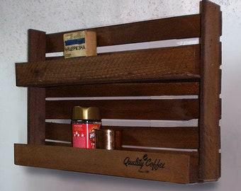 Wooden shelf. The loft style.