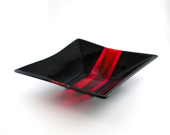 Black and Red Fused Glass Bowl, Serve-Ware, Large Glass Bowl, Fruit Storage, Salad Server, Pasta Bowl, Unique Wedding Gift for Couples