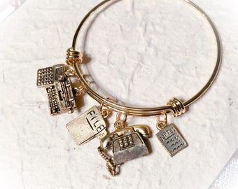 Secretary, secretary jewelry, secretary gifts, secretary bracelets, secretary bangle, office, gifts for secretaries
