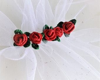 Rose flower mini Red rose applique Red crochet flower Red flower applique Crochet red roses Mini roses flowers Roses for your craft Set of 5