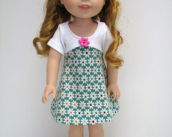 """14 Inch Doll Clothes - Fits Like Wellie Wisher - 14"""" Doll Dress - 14.5"""" Doll Dress - Flower Dress -  American Doll Clothes - A Doll Boutique"""