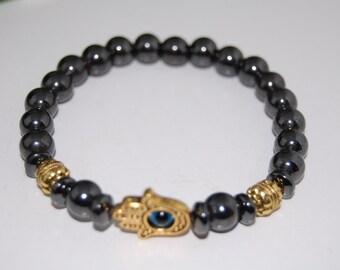 Hamsa Evil Eye Bracelet,Magnetic Hematite Beads Bracelet,Kabbalah,Man,Woman,health,Healing,Relieve,Protection,Meditation,Yoga,Boho,Stretch