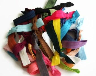 10 Hair Ties Grab Bag: Elastic Elastic hair ties in random colors. FOE Hair tie, ribbon hair ties, ponytail holders.