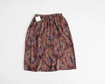 90s floral skirt | brown paisley skirt | brown and purple floral skirt