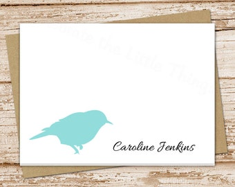 personalized bird stationery . wildlife nature . folded cards . bird silhouette note cards . bird notecards . set of 8