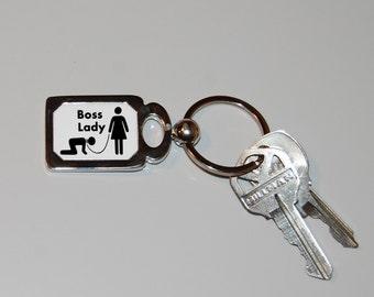 Boss lady keychain, I'm the boss, girls rules, girl power, feminist keychain,novelty keychain, BDSM, sarcasm, funny keychain, funny gift,