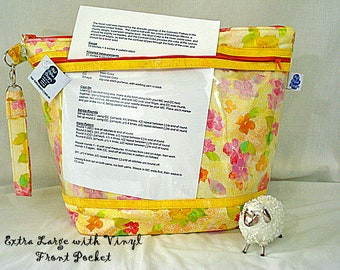 Sunshine Floral - Knitting Project Bag, Zippered Project Bag, Knitting Wedge Bag, Vinyl Front Bag, Yarn Tote Bag, Yarn Bag, knitting bag,