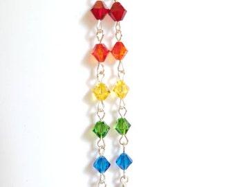 Rainbow Earrings / Swarovski Earrings / Swarovski Pride Dangle Earrings