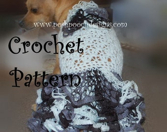 Instant Download Crochet Pattern - Ruffle Butt Dog Sweater - Small Dogs 2-20 lbs