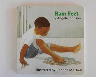 "Preschool Board Book ""Rain Feet"" by Angela Johnson, Enjoy the Rain / 1994 Board Book / Winter Weather / Rain Boots / Puddles / Yellow"