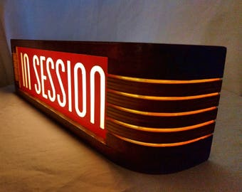 Red In Session Recording studio warning sign