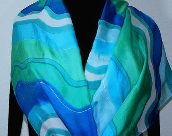 Teal Turquoise Blue Silk Scarf Hand Painted MEDITERRANEAN WINTER, in Several SIZES. Vacation Silk Wrap. Mother Gift.