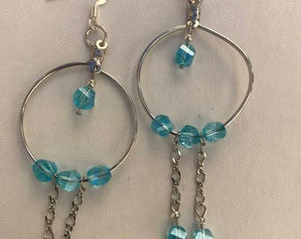 Turquoise Swarovski Beads, Silver Chain, Silver Wire Earrings