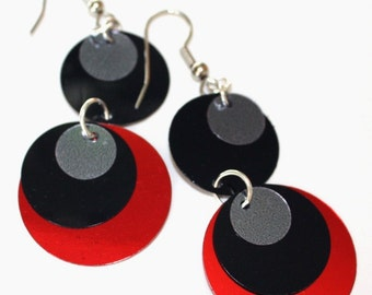 Sequin Earrings Black Red & Silver Round Circle Drops Plastic Sequin Jewelry