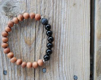Essential oil diffuser bracelet yoga bracelet mala beads black onyx bracelet sandalwood bracelet meditation beads yoga beads lava beads