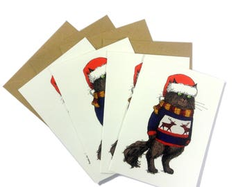 Christmas Cat Cards set of 4 Cats in Santa Hat