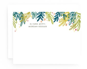 Personalized Stationery Set of 12 Custom Cards, Painted Greens Personalized Flat Card Set
