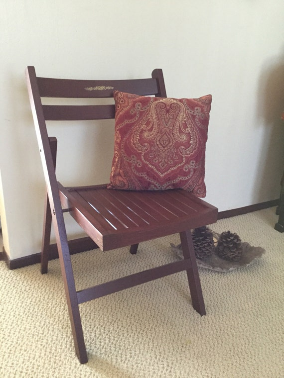 vintage 1950 s wood folding deck kitchen chair chocolate