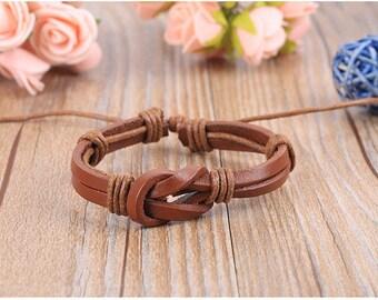 Leather bracelet with Love Knot! Womens & Mens bracelet. Gift under 20. Brown Leather+Hemp friendship/love bracelet A-14