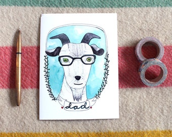 Father's Day Card - Blank Father's Day Card - Card for Dad - Goat Card Dad - Goat Card - Funny Card for Dad - Goat Dad